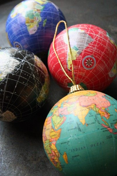 decoupage travel maps of places you've been to inexpensive Christmas tree ornaments