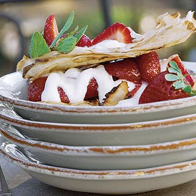 Strawberry Napoleons...would be great to add mint to the honey yogurt ...