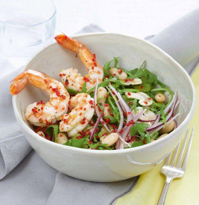 Shrimp, arugula & white beans