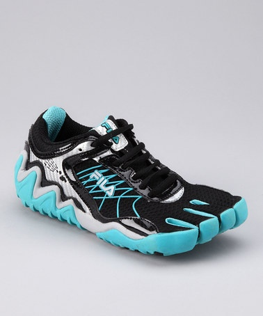 Take a look at this Black & Blue Skele-Toes Turbo Running Shoe - Women