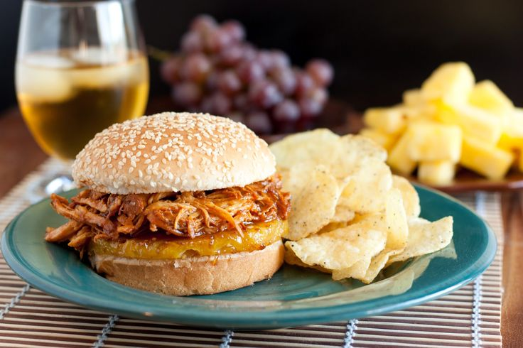 Hawaiian BBQ Pulled Chicken Sandwiches (Slow Cooker Recipe)