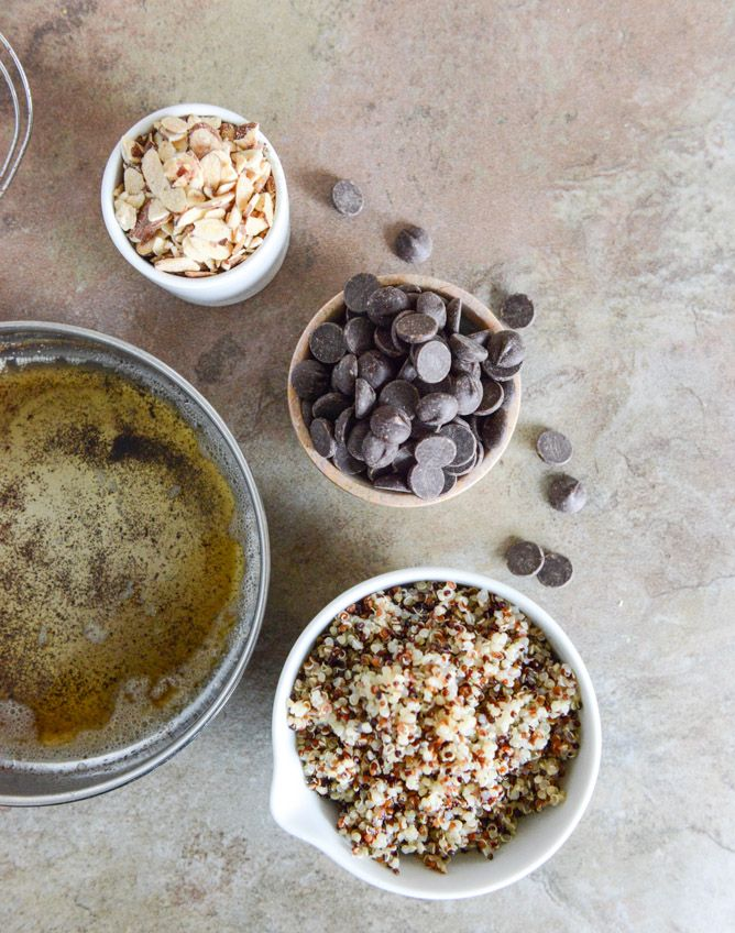 Crunchy quinoa granola with almonds and chocolate chips