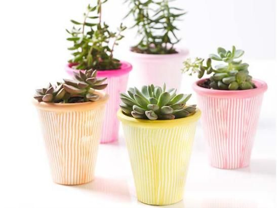 Dress up your Terra Cotta pots using  using the color palette inspired by the May issue of Martha Stewart Living. Get the #diy instructions and materials here! #marthastewartcrafts