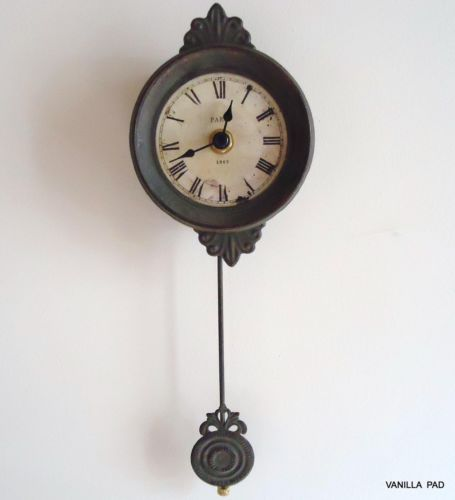 Small pendulum wall clock vintage antique style french grey shabby ch - Stylish pendulum wall clock ...