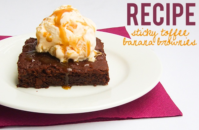 Sticky Toffee Banana Brownie Recipe: http://www.markethq.blogspot.com ...