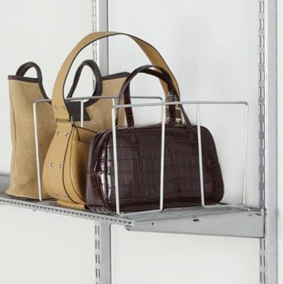 Purse storage - purses on top shelf of closet + ikea metal book ends