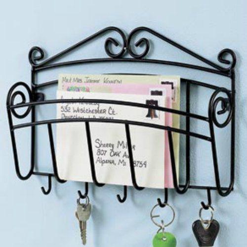 Metal mail letter key keys hook hooks wall mount hanging rack holde - Wall mount mail and key rack ...