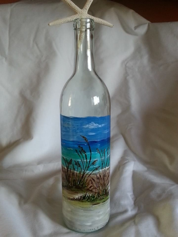 painted wine bottle 3 by diana garrett florida beach
