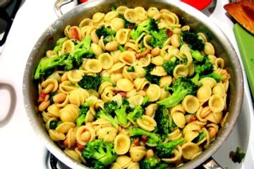 Orecchiette with pancetta, broccoli and pine nuts. Made this last ...