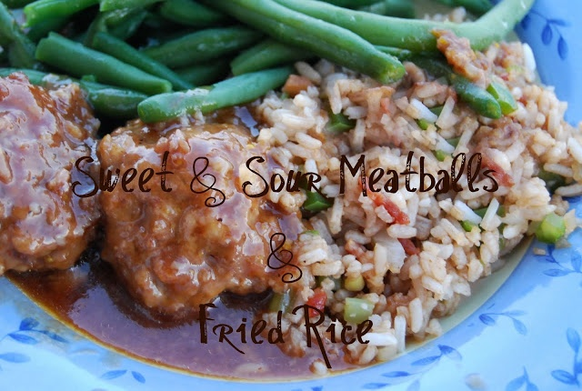 House Sweet and Sour Meatballs and Fried Rice I add pineapple, sweet ...