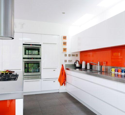 orange glass backsplash kitchen pinterest
