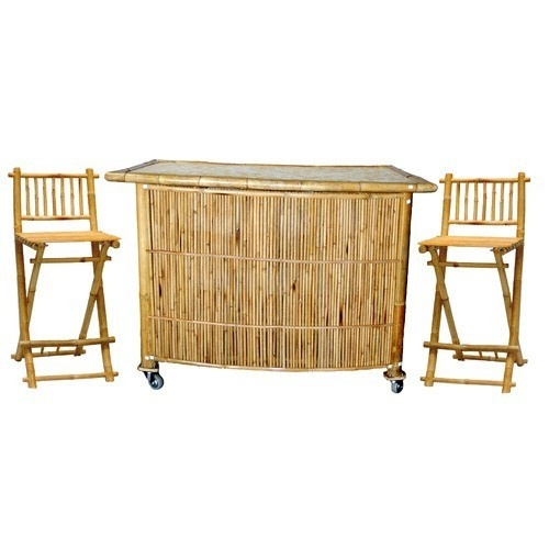Piece Wood Bamboo Tropical Tiki Bar Set Outdoor Patio Furniture
