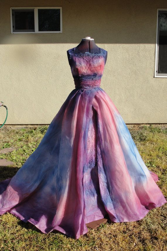 Hand painted purple pink and blue vintage 1970s wedding for Painted on wedding dress