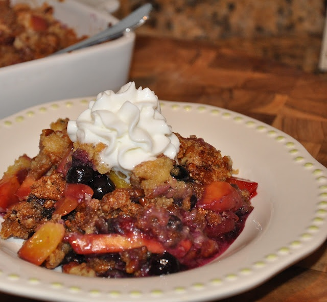 Red,White and BLUEberry.....with some peach too! Healthy dessert ...