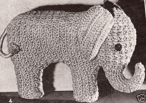 Free Crochet Pattern For Stuffed Elephant : Elephant Stuffed Animal Toy Crochet Pattern Vintage 2