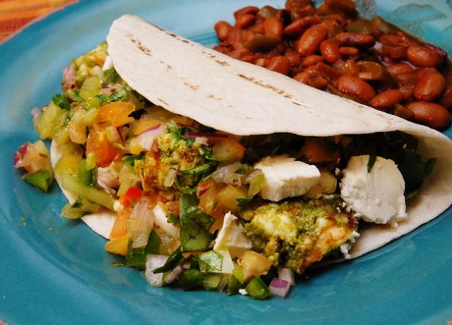 shrimp tacos recipe with green and pink tomato salsa
