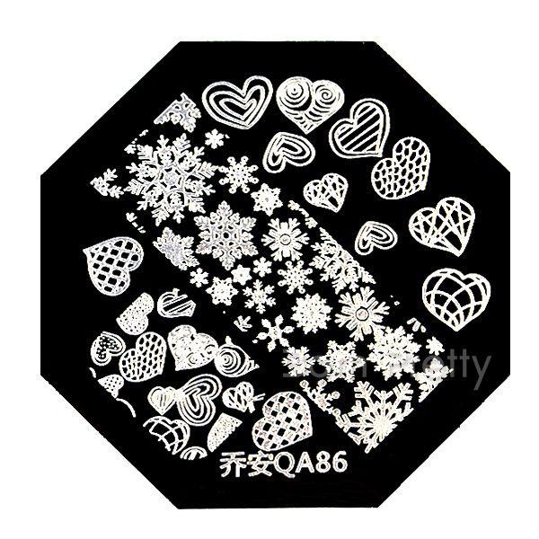 $2.39 Nail Art Stamp Template Cute Snow Heart Pattern QA86 - BornPrettyStore.com