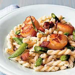 Seared Scallop Gemelli with Asparagus, Snap Peas, and Pecorino | Reci ...