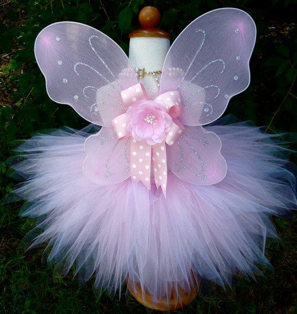 PIxie Tutu  amp  Wings Set   Lavendar or Pink-Lainie Sorkin