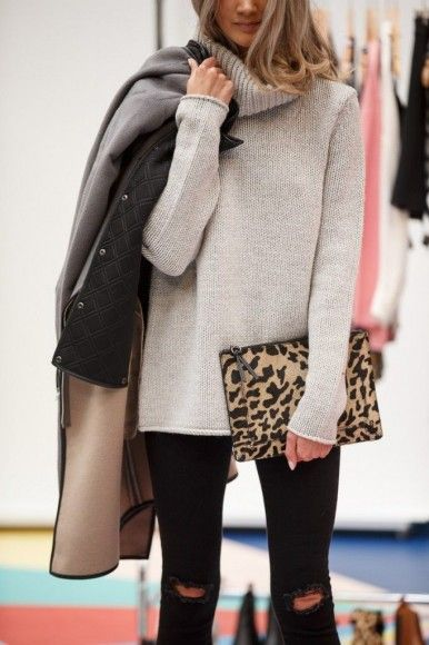 Not crazy about the holes in the knees but love the roomy sweater with black skinny jeans and dash of animal print.