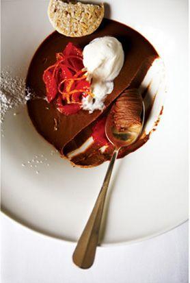 ... Pot de Crème with Hazelnut Shortbread and Blood Orange Compote