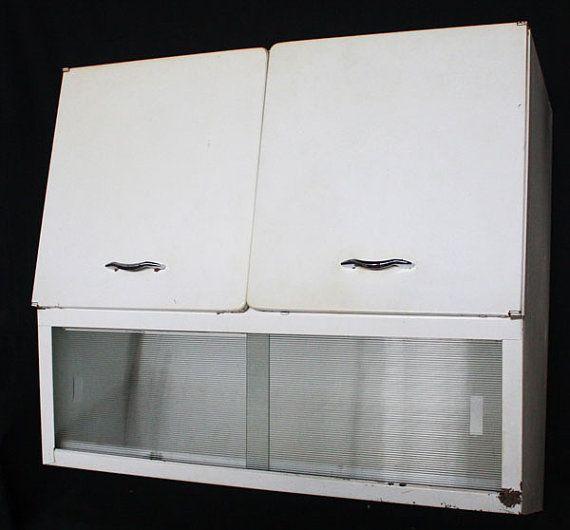 Vintage art deco retro steel wall kitchen cabinet w - Art deco kitchen cabinets ...