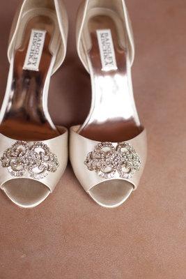 Badgley Mischka peep-toe shoes, a classic bridal favorite.  Formal, Elegant, Ivory Wedding