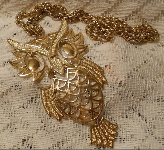 Vintage Large Owl Pendant with Chain by ViksVintageJewelry on Etsy, $19.99