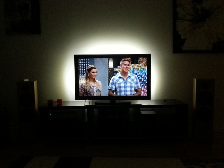 Ikea LED lights behind the tv : Home Theater : Pinterest