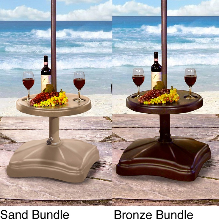 Patio Umbrella Stand Table: Shademobile Rolling Umbrella Base With Table Shelf