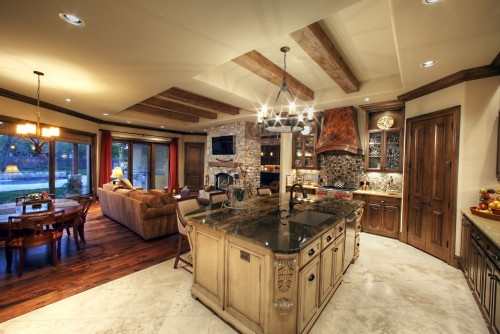 Good example of rustic beams in a traditional tray ceiling