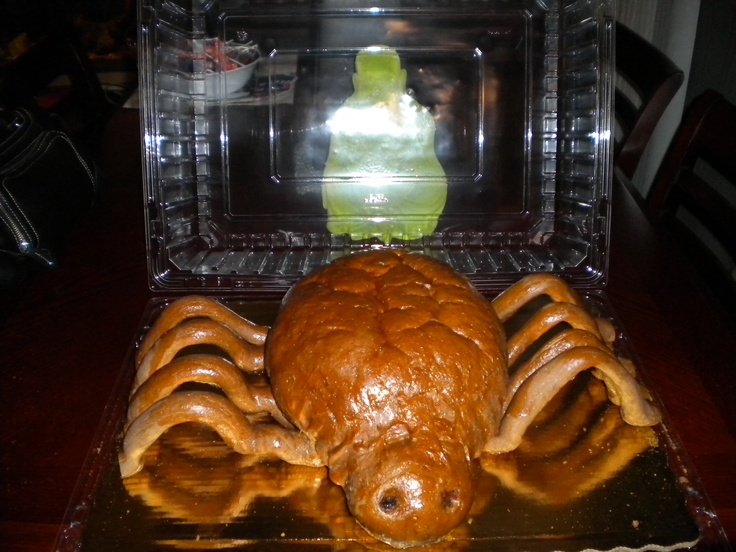Spider Bread with Spinach Dip, Happy Halloween. Local grocery bakery ...