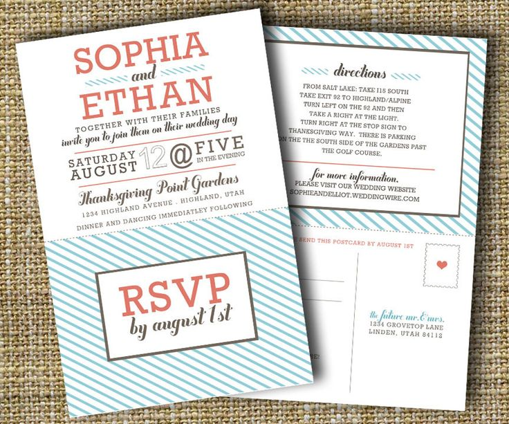 modern wedding invitation with perforated rsvp card - lovely.. $20.00, via Etsy.