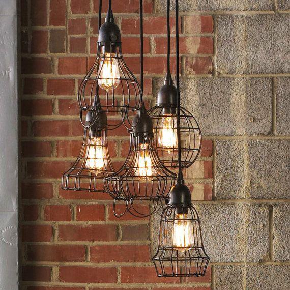 Industrial Rustic Pendant Lighting : Loft style rustic wire cage industrial pendant light