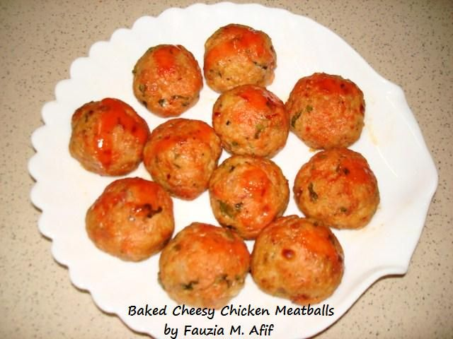 Baked Cheesy Chicken Meatballs | Indian food | Pinterest