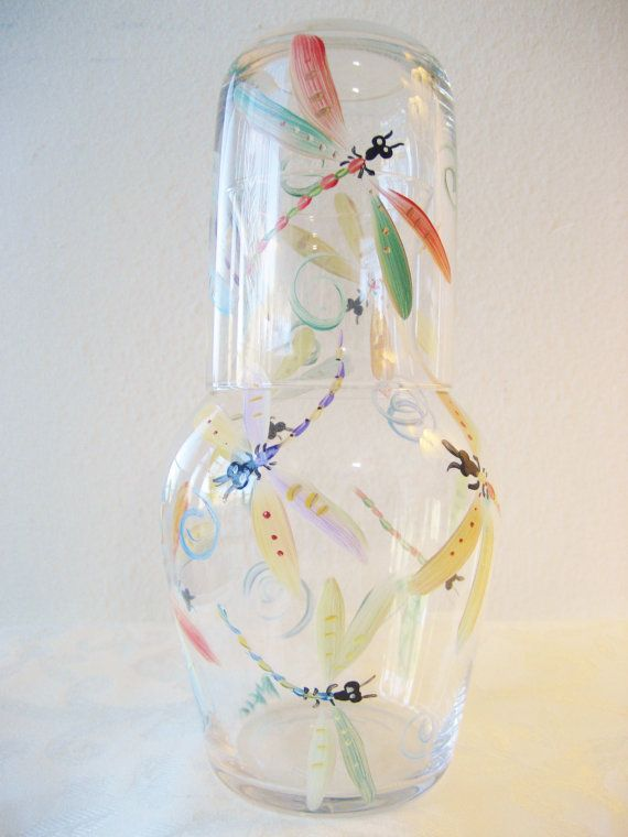 Handpainted dragonfly glass bedside carafe
