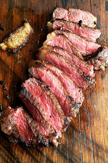 Pan-Seared, Oven-Finished New York Strips with Balsamic Caramel