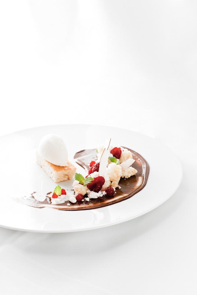 almond financier | chocolate pudding | raspberry | coconut ice cream