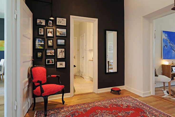 Dark brown black accent wall dream house pinterest for Black accent wall