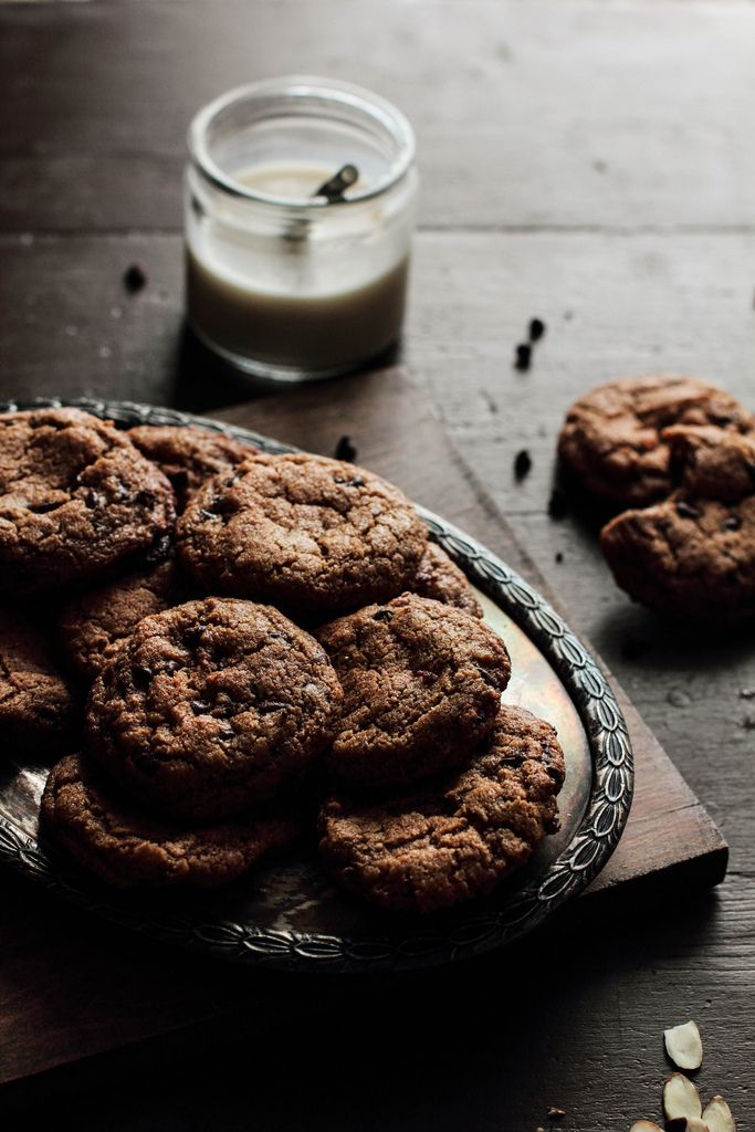 Almond Butter Chocolate Chip Cookies | sustenance | Pinterest