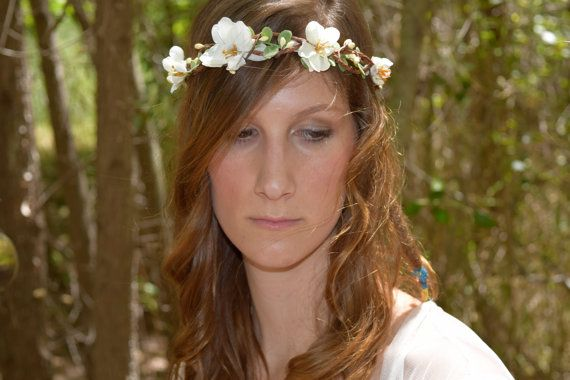 Branch flower bridal flower crown ivory branch flower crown with so
