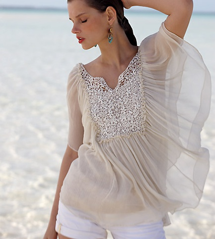 White Jean Shorts With Gorgeous Butterfly Style Top (Anthropologie)