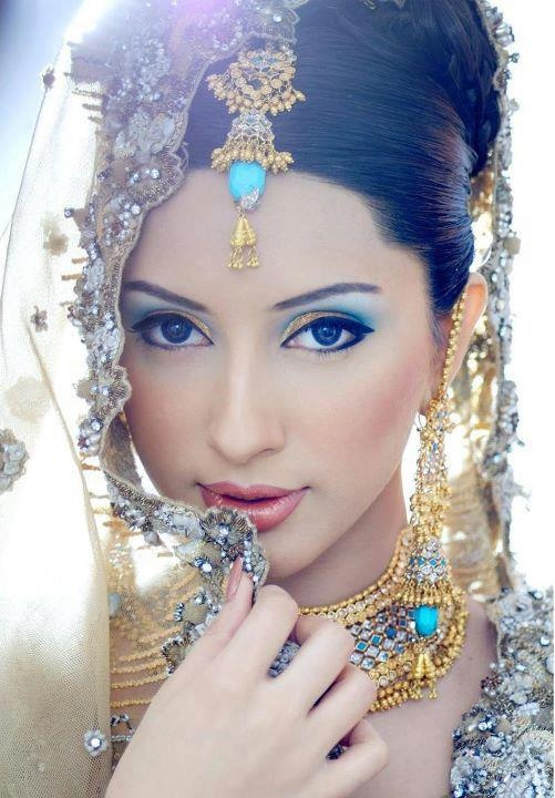 Wedding Makeup Gold : gold and blue Indian - South Asian Wedding - Bride ...