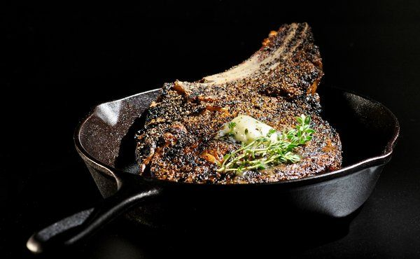 Black Pepper Rubbed Ribeye with Roquefort Butter