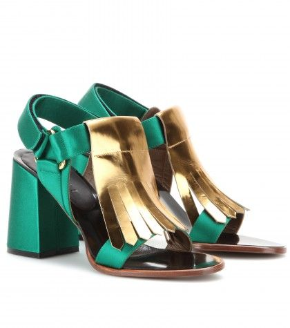 Shop now: Marni Edition - Metallic-leather and satin sandals
