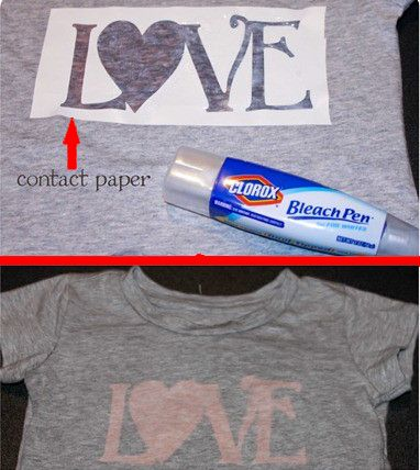 Tee, contact paper, bleach pen...voila! Just be sure to put something between the shirt front and back or you'll bleach the back, too!