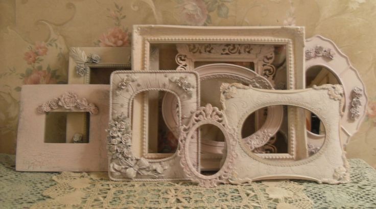Shabby ornate pink open picture frames vintage style for Bungalow style picture frames