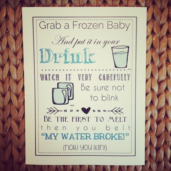 baby shower game printable my water broke ice game