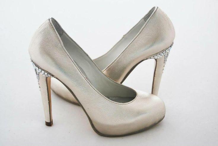Kali Shoes I Do Silver Gold Leather Swarovski Elements Applique High