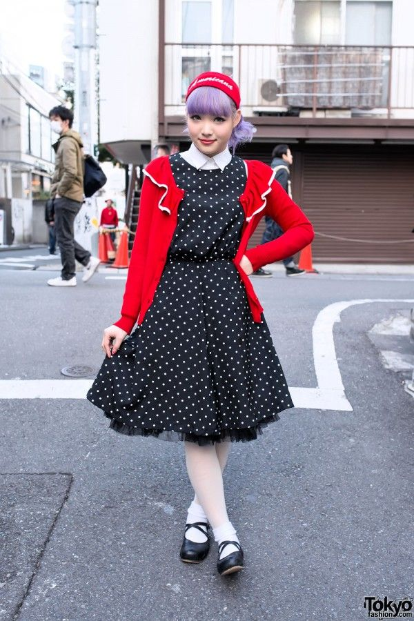 Ezaki Nanaho is an 18-year-old student and former Egg Magazine model who works at one of Harajuku's most popular boutiques. We see her around the streets often and she's always super friendly. Nanaho is wearing a polka dot swing dress and cardigan (both from Nadia Harajuku) with white tights & Meirire flats. You can see Nanaho's full look - including closeups of her cherry nail art - here. #tokyofashion #street snap #Harajuku